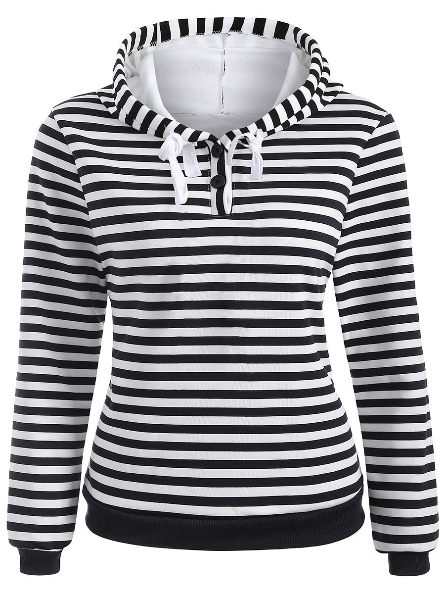 Casual Basic Striped Hoodie