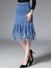 Distressed-Denim-Mermaid-Midi-Skirt