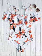 Off The Shoulder Flounced One-Piece Swimwear