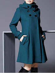 Hooded Double Breasted Flap Pocket Plain Woolen Trench Coat