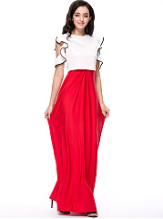 Contrast Trim Flounce Top And Solid Flared Maxi Dress