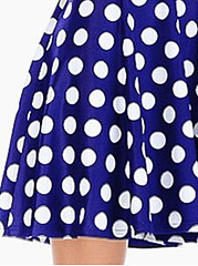 Round Neck  Backless Patchwork Ruffled Hem  Polka Dot Skater Dress