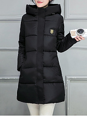 Hooded Badge Pocket Quilted Padded Coat
