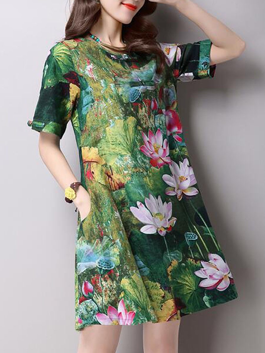 Round Neck Lotus Printed Pocket Shift Dress