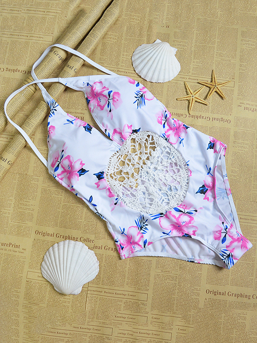 Crochet  Floral Hollow Out One Piece