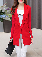 Lapel Patchwork Pocket Plain Longline Blazer