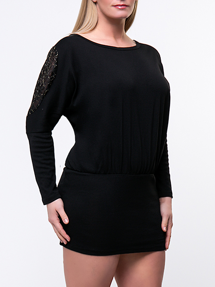 Exquisite Batwing Sleeve Hollow Out Solid Plus Size Bodycon Dress
