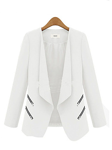 Narrow Notch Lapel  Zips  Plain  Long Sleeve Blazers