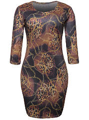 Round Neck Leopard Printed Hot Bodycon Dress