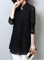 Polo Collar  Hollow Out Plain Blouse With Long Sleeves