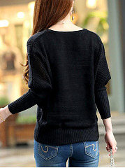 Round Neck  Hollow Out Plain  Batwing Sleeve  Long Sleeve Sweaters Pullover