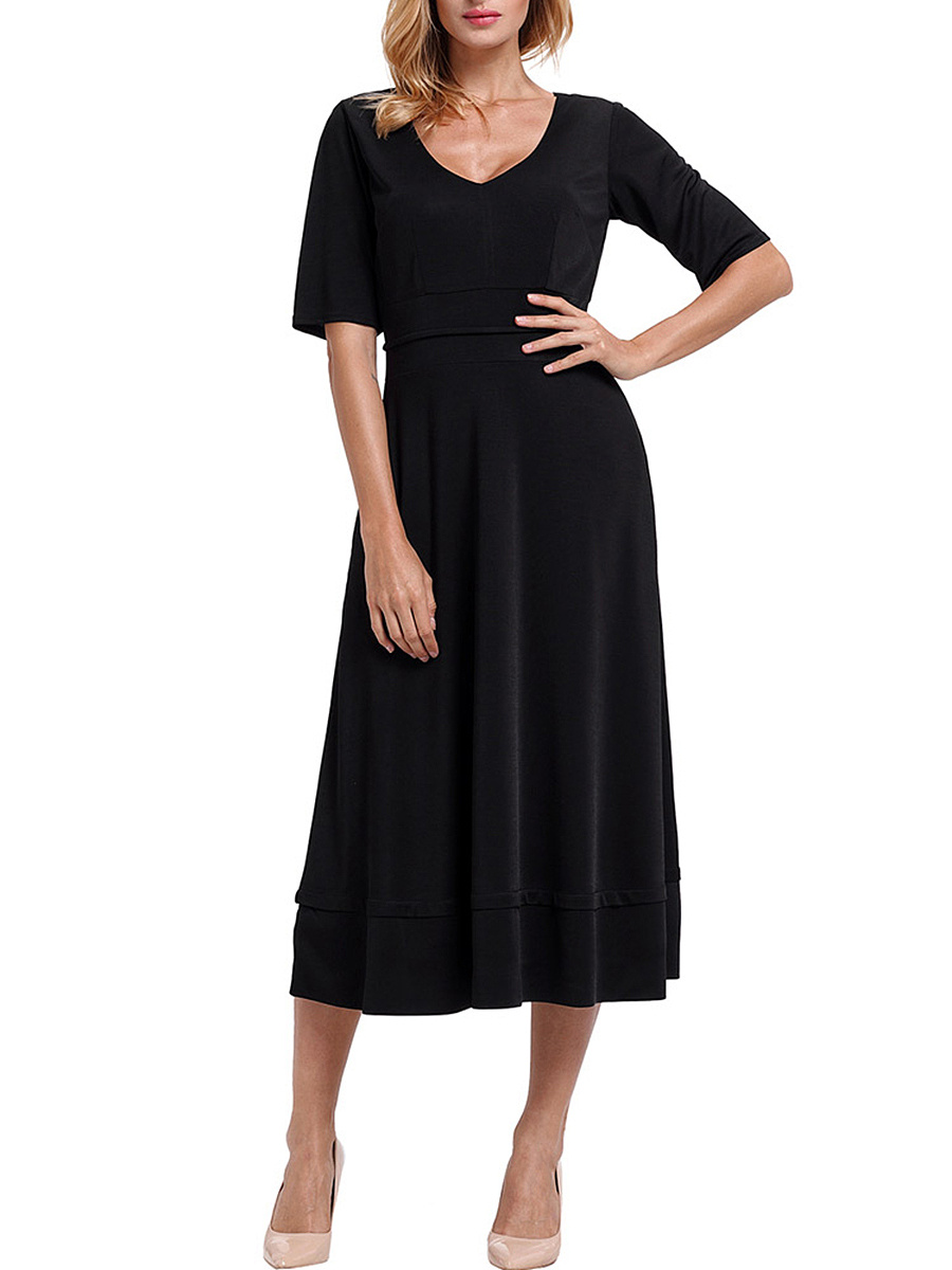 Deep V-Neck Plain Pocket Maxi Dress