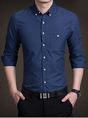 Button-Down-Collar-Plain-Men-Shirt-With-Pocket