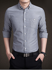 Button Down Collar Plain Men Shirt With Pocket
