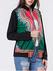 Zips  Abstract Print  Long Sleeve Jackets
