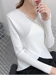V Neck  Beading  Plain Knit Pullover