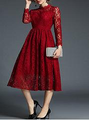 Round-Neck-Plain-Lace-Dresses
