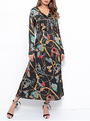 V-Neck  Printed Date Maxi Dress