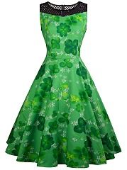 Four Leaf Clover Printed Round Neck See-Through Sleeveless Skater Dress