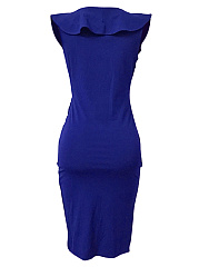 Deep V-Neck Flounce Ruched Plain Midi Bodycon Dress