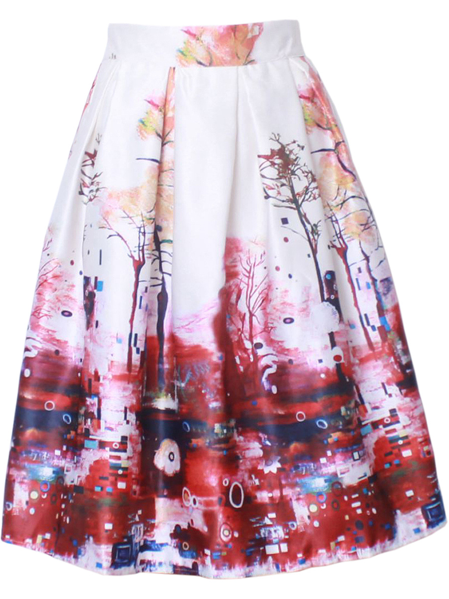 Elastic Waist Inverted Pleat Exquisite Printed Flared Midi Skirt