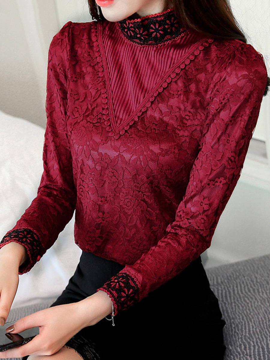 High Neck Lace Long Sleeve Blouse