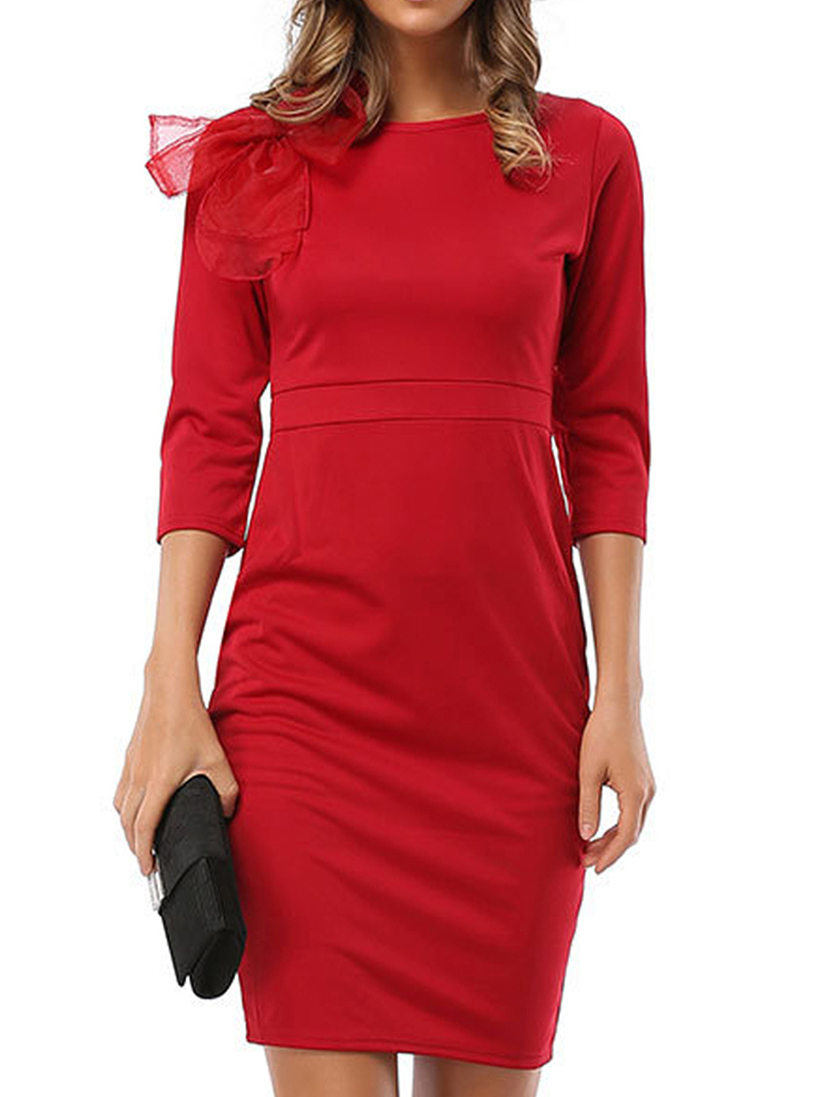Bowknot Solid Round Neck Bodycon Dress