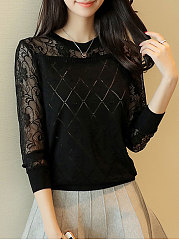 Round Neck  Decorative Lace See-Through  Geometric  Long Sleeve Pullover