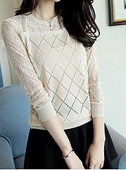 Round Neck  Decorative Lace See-Through  Geometric  Long Sleeve Sweaters Pullover