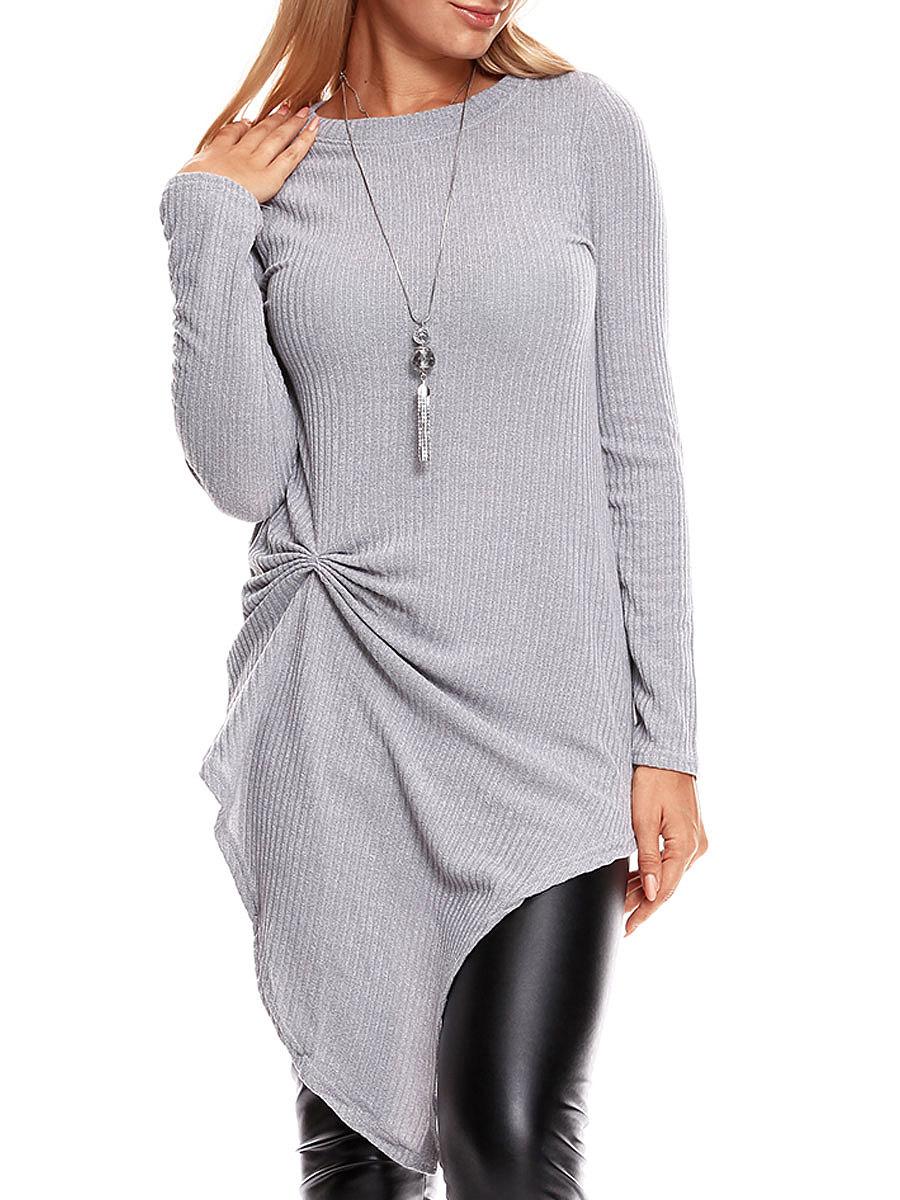 Round Neck Asymmetric Hem Plain Long Sleeve T-Shirts