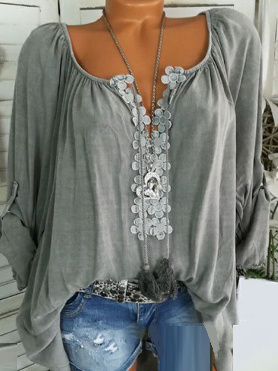 Autumn Spring Summer  Polyester  Women  V-Neck  Decorative Lace  Plain  Long Sleeve Blouses