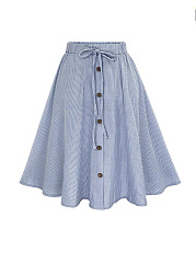 Elastic-Waist-Vertical-Striped-Flared-Midi-Skirt