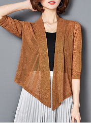 Asymmetric Hem See-Through  Plain  Three-Quarter Sleeve Cardigans