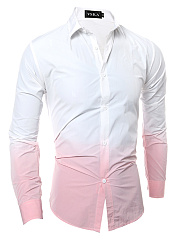 Men Gradient Long Sleeve Shirts