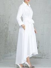 Fold Over Collar  Asymmetric Hem  Plain Maxi Dress