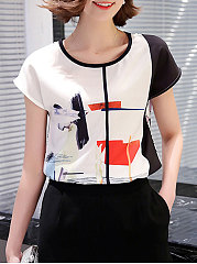 Summer  Cotton  Women  Printed  Short Sleeve Blouses