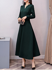 V-Neck  Decorative Hardware  Plain  Polyester Maxi Dress