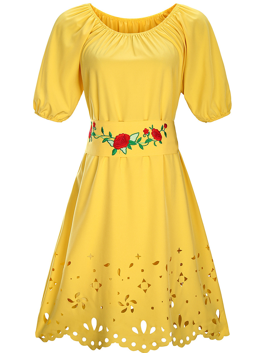 Embroidery-Belt Hollow Out Round Neck Skater Dress