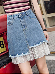 Plain Decorative Lace Straight Knee-Length Skirts For Women