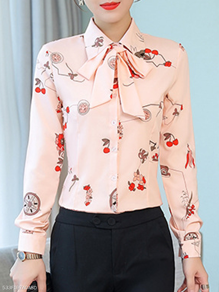 Autumn Spring  Polyester  Women  Turn Down Collar  Bowknot  Printed  Long Sleeve Blouses