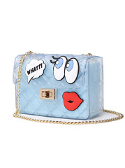 Sheer Fabric Cartoon Chain Crossbody Bag
