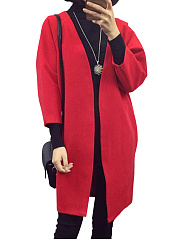 Plain  Three-Quarter Sleeve Woolen Coats