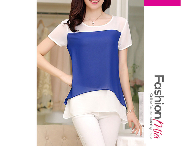 Spring Summer  Polyester  Women  Round Neck  Asymmetric Hem Patchwork  Plain  Short Sleeve Blouses