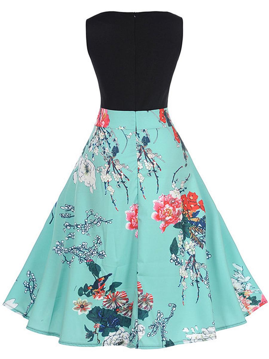 Charming Floral Printed Round Neck Sleeveless Skater Dress. Charming ...