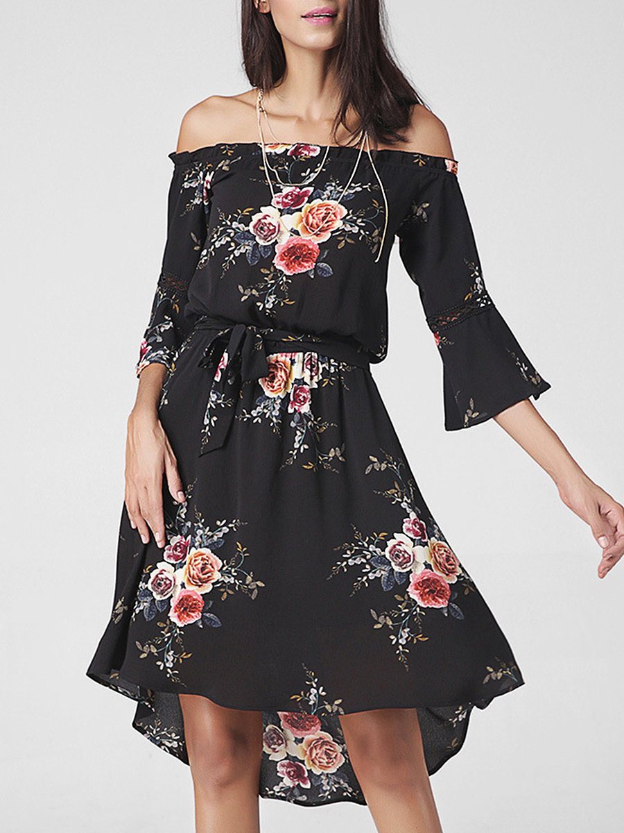 Off Shoulder Floral Printed High-Low Bell Sleeve Skater Dress