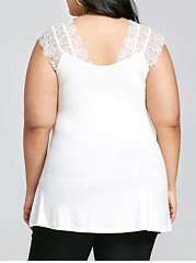Deep V-Neck  Decorative Lace  Plain  Sleeveless Plus Size Blouse