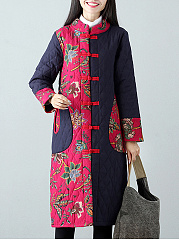Band Collar Tribal Printed Patch Pocket Quilted Long Coat