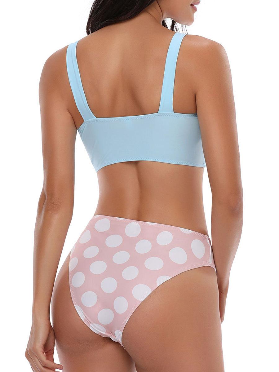 Backless  Plain Polka Dot  Mid-Rise Bikini