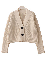 V Neck  Plain Knit Cardigans