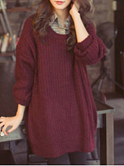 Round Neck  Asymmetric Hem  Plain  Long Sleeve Pullover